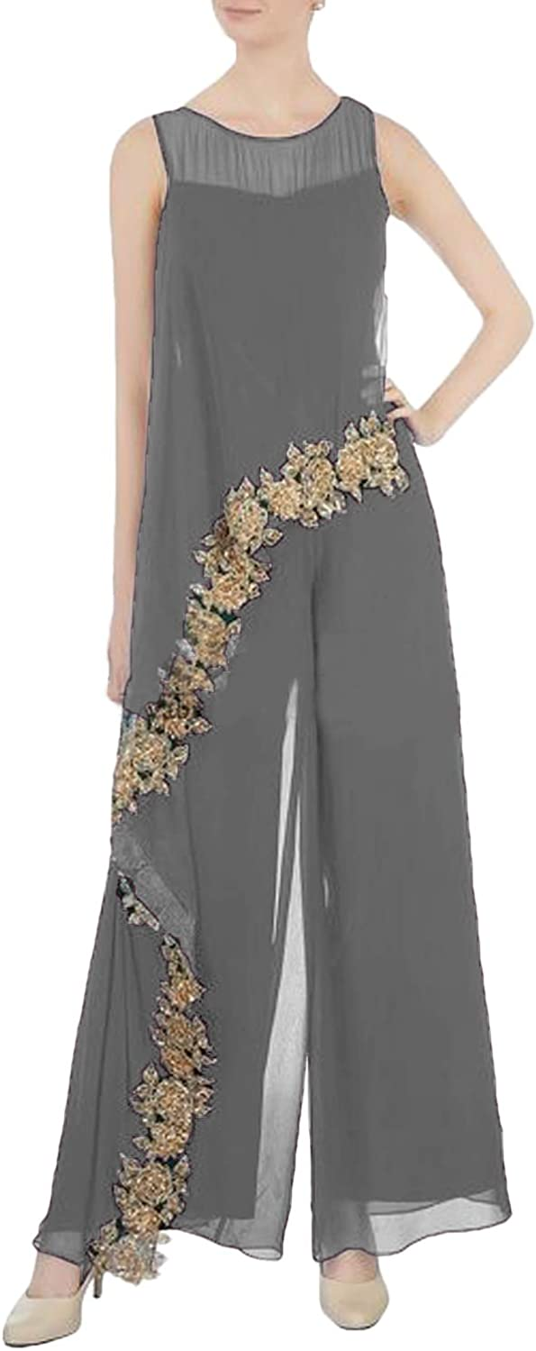 CY Mother of The Bride Pantsuits Dresses Chiffon Jumpsuit with Gold Applique