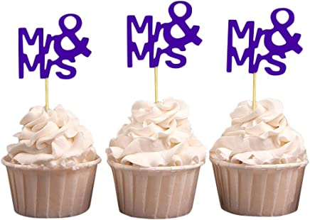 Darling Souvenir Mr & Mrs Wedding Cupcake Toppers, Party Dessert Decorations - Pack of 40