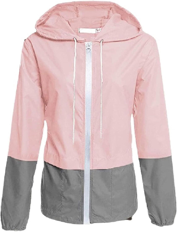Womens Raincoat Lightweight Packable Waterproof Rain Jackets Outdoor Hooded Windbreaker for Hiking, Travel