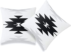 Hofdeco Modern Boho Patio Indoor Outdoor Pillow Cover ONLY for Backyard, Couch, Sofa, Black Gray Aztec Triangles, 18