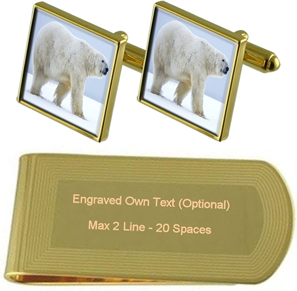 North Polar Bear Gold-tone Excellent Cufflinks Money Engraved Clip Gift Miami Mall Se