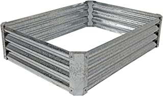 Sunnydaze Raised Metal Garden Bed Kit, Galvanized Steel 48-Inch Rectangle Planter for Plants and Vegetables, 12 Inches Deep