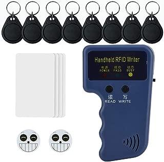 Homsafe 125khz RFID Writer RFID Cards Reader Pro II/Pro III Handheld RFID ID Card Writer Copier Duplicator with Readable& Rewritable 2PCS 3M Sticker Cards 8pcs Fob Tags 4pcs RFID Card