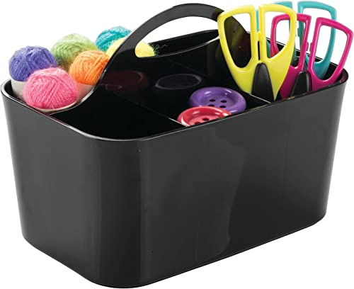 mDesign Plastic Portable Craft Storage Organizer Caddy Tote, Divided Basket Bin with Handle for Craft, Sewing, Art Su...