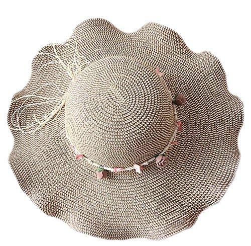 Da.Wa, cappello di paglia estivo con falda ondulata, per la spiaggia, alla moda, da donna e da ragazza Light