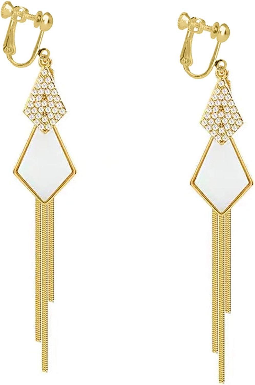 Gold Multi Diamond Dangle Clip on Earrings No Pierced Rhinestone Long Tassels Screw Back for Women Girls