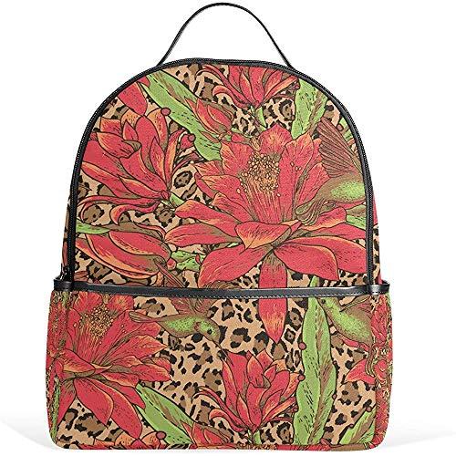 Schultertaschen,Kolibri Rote Blumen Rucksack Lässig Daypack Schule College Reisetasche Für Jugendliche Jungen Mädchen
