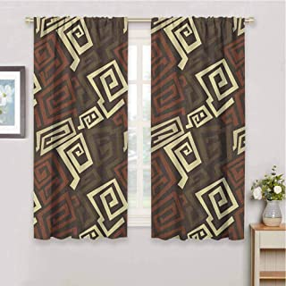 Kitchen Curtain Grunge Ancient Indigenous Design with Grunge Effect Twisted Lines Geometric Folk Print Soundproof Privacy Window Curtains W72 x L72 Inch Brown Cinnamon Ivory