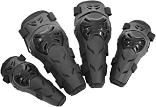 Qii lu 4 pcs Motorcycle Motocross Cycling Elbow and Knee Pads Protection Shin Guards Body Armor Set Black for Adults(Black)