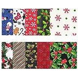 Navidad Tela De Algodón, 10 Piezas Tela Algodon Telas Patchwork para DIY Manualidades de Costura de Navidad (20 x 25 cm)
