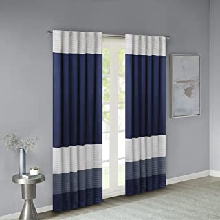 Madison Park Room-Darkening Window Treatment Curtain Solid Thermal Insulated Panel Blackout Drapes for Bedroom Livingroom and Dorm, 50x84, Navy