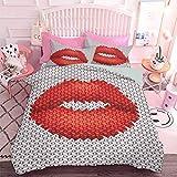 Hiiiman - Juego de edredón de 3 piezas, diseño de labios, bordado en tela con patrón cosmético, elegante adorno femenino (3 piezas, tamaño King) con 2 fundas de almohada