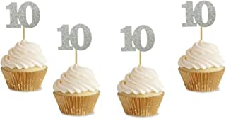"""Glitter Sliver 10th Birthday Party Anniversary Party Cupcake Toppers. 24 Pack Number 10"""" Cupcake Toppers"""