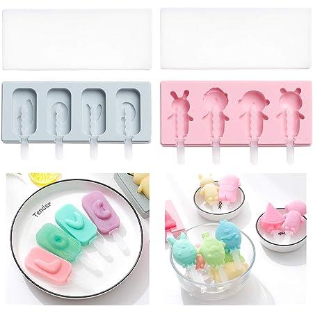 sacs demballage BESLIME Lot de 2 moules /à glace en silicone avec couvercle moules /à glace pour faire de la glace soi-m/ême b/âtonnets de glace Rose