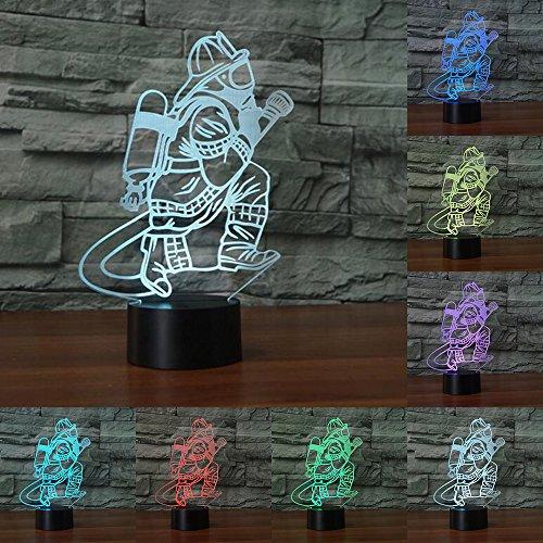 Feuerwehrmann 3D-Tischlampe USB Touch-Taste 7 Farben wechselnd, Nachtlicht, Deko-Leuchte für Nachttische, Geschenke