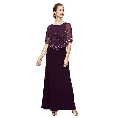 Alex Evenings Long A-Line Popover Dress (Eggplant) Women