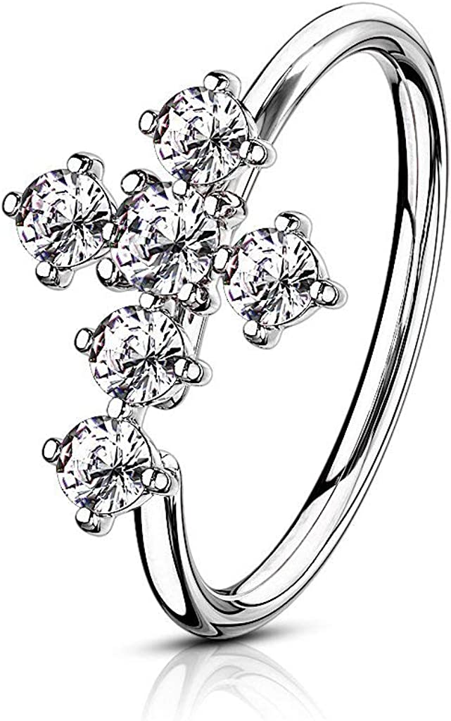 Forbidden Body Jewelry 20g 8mm Plated Brass Bendable Nose Ring & Cartilage Hoop Featuring CZ Lined Cross Top (Choose Plating)