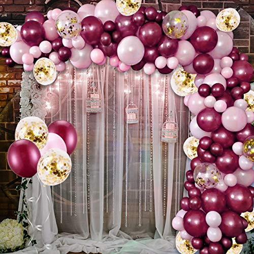 Balloons Arch Kit,Aivatoba Burgundy Pink Balloons Garland Kit Latex Gold Confetti Balloon with 16ft Tape Strip & Dot Glue for Girls Women Birthday Party Decorations Baby Shower Wedding Gender Reveal