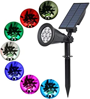 T-SUN Solar Spotlights 7 LED Outdoor Color Changing Landscape Lights Auto On/Off Solar Lights Security Light for Patio, Yard, Garden, Driveway, Pool Area[1 Pack]