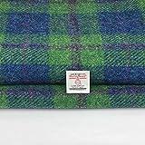 Tessuto Harris Tweed 100% pura lana a quadretti blu, verde, rosa, realizzato in Scozia, tartan, merceria, 1 etichetta inclusa. 36 cm x 25 cm.