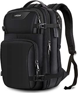 LATOW Laptop Backpack, Travel Anti Theft Water Resistant Computer Bag with USB Charging Port & Headphone Interface, Slim Business Backpack Ideal for Men Women College Student Fit Under 15.6