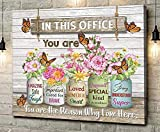 in This Office You are Amazing Monarch Butterfly Flower Mason Jar Wall Art Poster (Canvas Framed, 20x16)