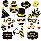 Birthday Photo Booth Props, 31 PCS Funny Photo Booth Kit, Black and Gold Birthday Party Props with Sticks, Selfie Props Birthday for Adult, 31-pieces