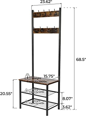 CHADIOR, Shoe Bench, Industrial Hall Tree, Entryway Storage Shelf Stand with Hooks, Wood Look Accent Furniture, 3-in-1 Design