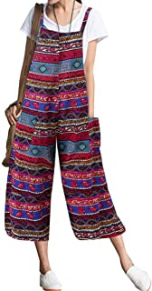 LvRao Women Plus Size Linen Overalls Wide Leg Aztec Jumpsuit Sleeveless Capri Dungarees Rompers