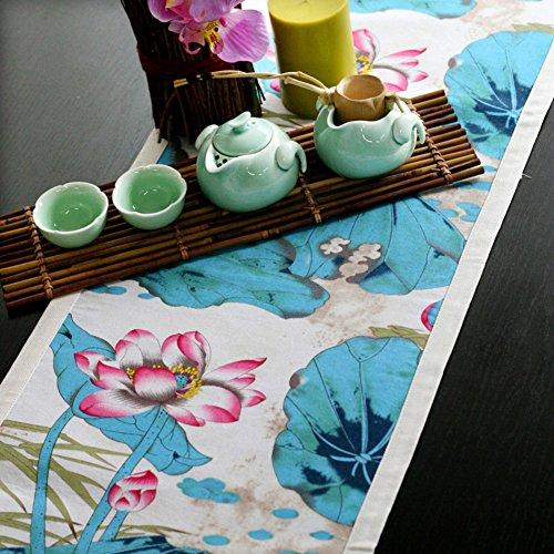 DXG&FX Chinese wind afdrukken inkt tafel loper katoen en linnen stoffen tafelkleed mode salontafel loper bed loper 32x190cm(13x75inch) A
