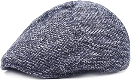 2019 Women Earmuffs Quilted Peaked Cap for Men Knitting Wool Adjustable Flat Cap Duckbill Newsboy Hat 56-58cm (Color : 3, Size : Free Size)