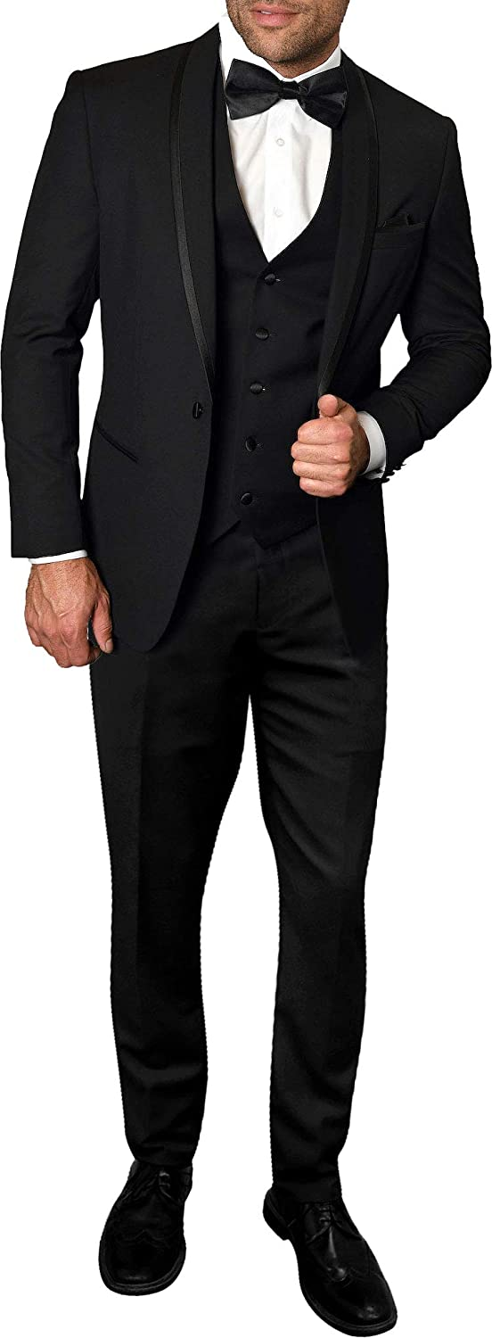 Statement Mens 4pc Wool Tuxedo Suit Tailored Black Grey or White Jacket Vest Pant Bow Tie