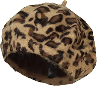 Leopard French Beret Hat, Classic Packable Winter Beanie Cap – Animal Print
