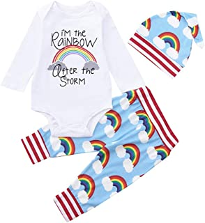 Norriss 3PC Newborn Baby Girl Boy Rainbow Long Sleeve Romper+Pants+Hat Outfits Set