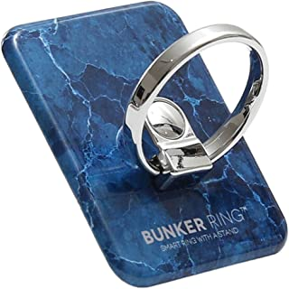 BUNKER RING 3 バンカーリング マーブル 大理石デザイン スマホリング [ブルー]
