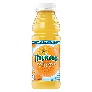 Tropicana 100% Orange Juice with Calcium, 15.2 fl oz Bottles, (Pack of 12)