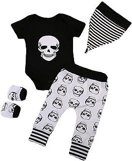 Conjunto Ropa Bebe Recien Nacido Niño 0 a 3 Meses Disfraz Halloween Niño Calavera Camiseta Manga Corta y Pantalones y Sombrero y Guante Bebe Pijama Traje de Bebé niño 0-24 Meses