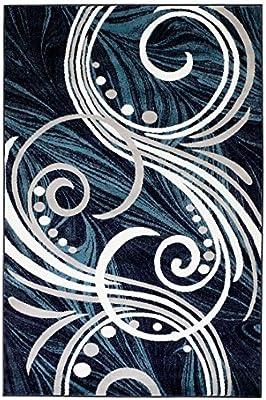 Nuevo Cumbre Elite # 61Color Azul Gris Blanco Swirl Scrolls zona de remolino de transición alfombra moderna abstracta alfombra muchos tamaños disponibles 2x 32x 74x 65x 78x 11(22pulgadas x 35pulgadas, Scatter alfombrilla Felpudo (tamaño) by Cumbre