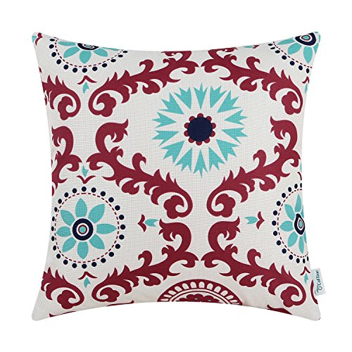 CaliTime Canvas Throw Pillow Cover Case for Couch Sofa Home Decoration Three-Tone Dahlia Floral Compass Geometric 18 X 18 Inches Red Wine/Turquoise/Navy