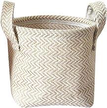 Plain Woven Yellow Linen Storage Basket Linen Cotton Blend Storage boxsundries Storage Bag Laundry Basket Storage Basket Toy