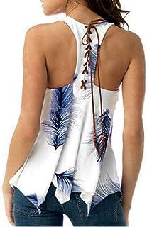 SEMATOMALA Women's Scoop Neck Lace Up Tank Top Sleeveless Feather Printed Cutout Criss Cross Asymmetrical Blouse Shirts