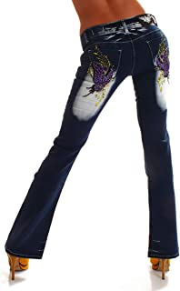 Crazy Age CA 1159 - Pantalón vaquero tribal con diseño de mariposas, color azul