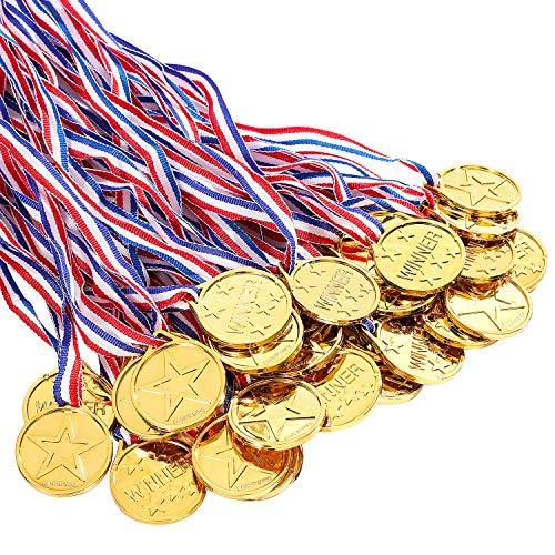 Whaline 20 Gewinner Medaillen Gold Kunststoff für Kinder Geburtstag, Party, Sportstag, Spielzeug, Awards