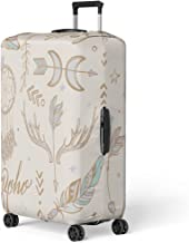 Semtomn Luggage Cover Chic Consist of Ornamental Boho Tribal Symbol Arrow Astrology Travel Suitcase Cover Protector Baggage Case Fits 18-22 Inch