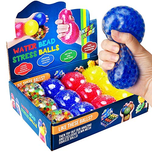 KELZ KIDZ Durable Large Squishy Water Bead Stress Balls (12 Pack) - Great Sensory Toy for Anxiety Relief for Children and Adults - Helps Calm Kids with ADHD & Autism