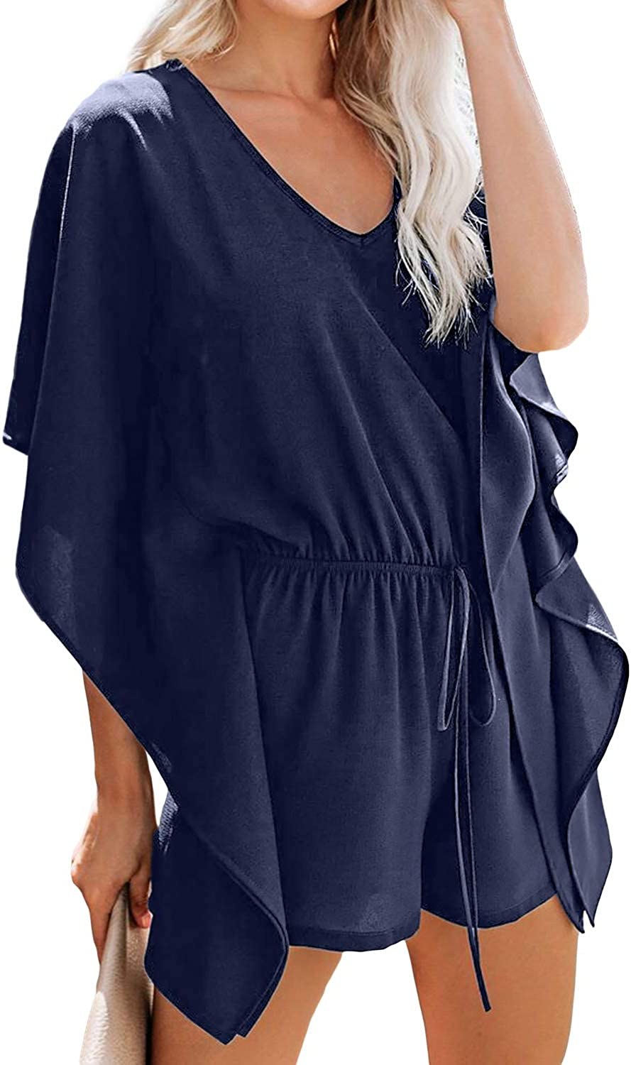 Financial sales sale Discount is also underway Uusollecy Womens Summer Casual Shorts Jumpsuits V Ruffle Neck Sl