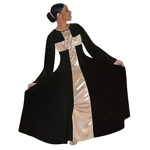 7ade6a812fe Body Wrappers Women s Praise Cross Long Worship Dress - 620