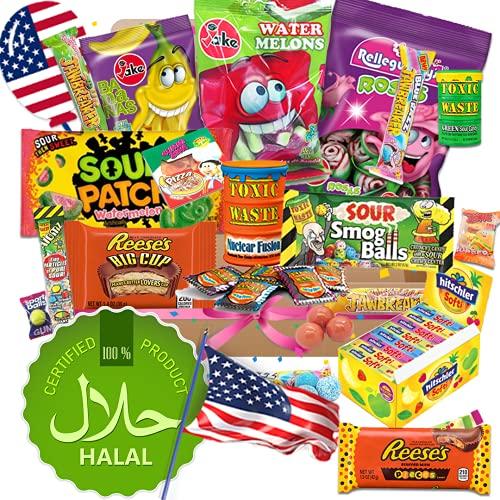 Süßigkeiten Box QueenBox® Halal USA Box 25 Teile amerikanische Süßigkeiten Box Candy Mix Süßigkeiten aus aller Welt
