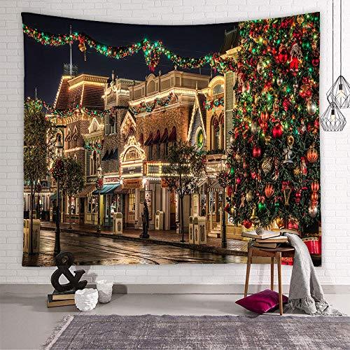 Yhjdcc Weihnachten Europa Amerika Baum Schnee Tapisserie Wandbehang Dekor Psychedelic Abstract Teppich Stoff Wandteppiche 150cm x 200 cm