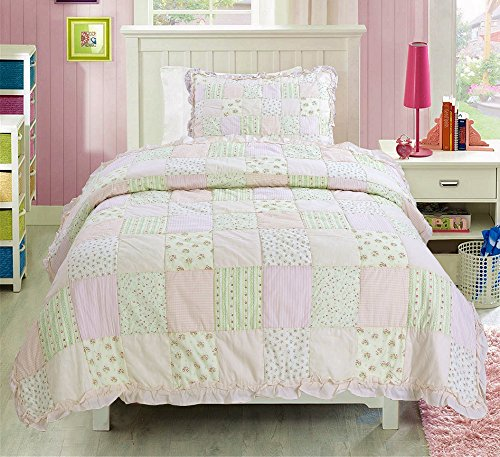 pink and green quilt - 5